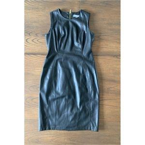 Calvin Klein Black Faux Leather Dress Size 6